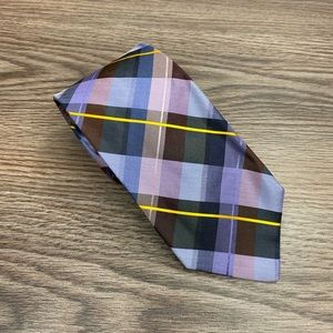 Murano Blue, Purple & Maroon Plaid Silk Tie